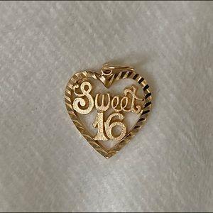 14K gold sweet 16 locket/necklace (2 grams)